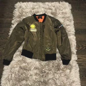 Army green bomber jacket with patches